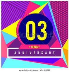 3rd years greeting card anniversary with colorful number and frame. logo and icon with Memphis style cover and design template. Pop art style design poster and publication.