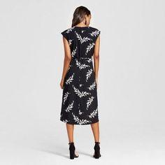 Women's Floral Print Wrap Dress - Merona Black/Cream Xxl