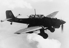 The infamous Junkers Ju 87 'Stuka' in flight. Its fearsome reputation far exceeded its true combat capability. Carrying only  a light bomb load and notoriously defenseless against fighters, the Stuka capitalized on its myth as the death-from-above undefeated machine. A great part of the myth emerged from its under-the-nose siren designed to produce a terrifying shriek as the plane dove upon its target.  *BFD*
