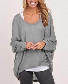 Damen-Bluse-Tunika-Top-Pullover-Baggy-Jumper-Shirt-Langarm-Oberteil-BC244