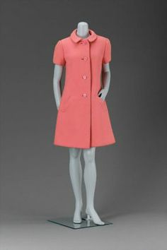 Pink shortsleeve coat dress from Spring 1967 collection | Geoffrey Beene (United States, 1927-2004) | Materials: wool twill lined with silk satin | Museum of Fine Arts, Boston