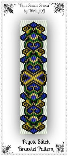 "New pattern listed in my Etsy shop: ""Blue Suede Shoes"" - Odd Count Peyote Stitch Bracelet Pattern - In The RAW. Please follow this link for more info: https://www.etsy.com/listing/170750684/bp-ab-127-blue-suede-shoes-odd-count?ref=shop_home_active"
