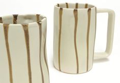 Brown Stripe Ceramic Mugs, Signature Glazes