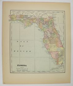 Vintage Florida Map 1896 Antique Map of Florida, Gift for Couple, Florida Decor Wall Art, FL Map, Travel Gift for Family, Old Florida Map available from OldMapsandPrints.Etsy.com #Florida #VintageFloridaMap