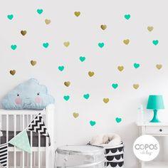 Vinilos decorativos con forma de Corazones Aqua y Dorado #vinilos #decorativos #infantiles #trama #deco #decoracion #vinilodecorte #corte #pared #corazon #dorado #aqua