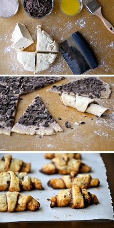 four-star rugelach recipe from our jewish recipes collection Chocolate Rugelach Recipe, Chocolate Recipes, Just Desserts, Delicious Desserts, Yummy Food, Delicious Cookies, Tasty, Baking Recipes, Cookie Recipes