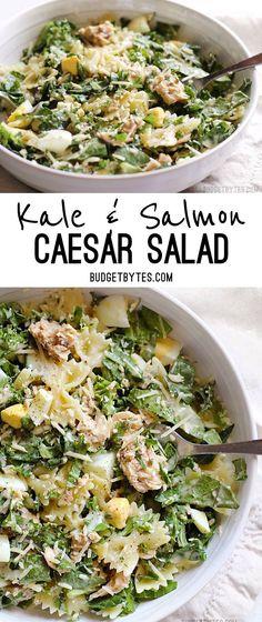 Kale & Salmon Caesar Salad | Budget Bytes | Bloglovin'