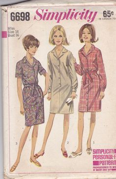 Simplicity 6698 Vintage Pattern Womens Shirt Dress in 3 Variations Size 16 Bust 36
