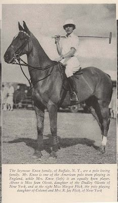 Female polo player: no date given, but I'm guessing this was taken in the 1930s