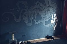 Magnolia is the octopus lady floating on my living room wall. My Living Room, Magnolia, Behance, Gallery, Illustration, Wall, Painting, Home Decor, Behavior