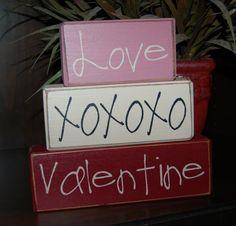 Valentine's Day Blocks Love XOXO Valentine Primitive Word Blocks Sign Distressed Stacking Shelf Blocks Home Decor Gift