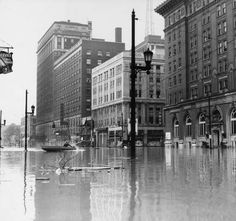 Louisville KY  ... The Brown Hotel & YMCA  during the 1937 flood... photo by 'Courier-Journal' photographer H. Harold Davis ...