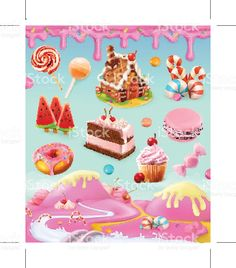 Confectionery and desserts, set of vector graphics objects, mesh illustration royalty-free 일러스트