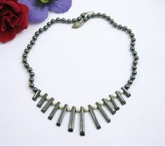 Hematite Spike & Cream Glass Beads Vintage Necklace Choker Sterling Silver Clasp