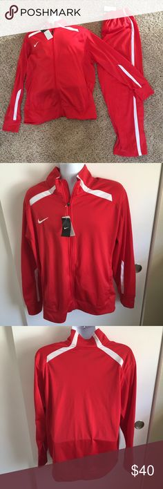 NIKE Track Jacket and Pant Light weight Knit warmup suit. Will separate if you only want one of the two pieces. Zippered ankles Nike Jackets & Coats