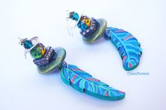 Wood feather earrings Hand painted wood Blue by CocoFlowerShop