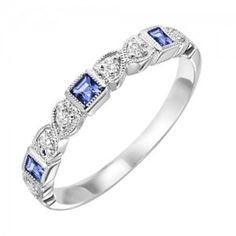 10k white gold diamond and square sapphire birthstone ring