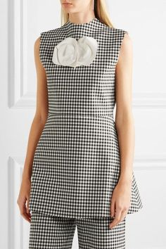 A.W.A.K.E. - Jellychess Fluted Gingham Woven Top - Black - FR38