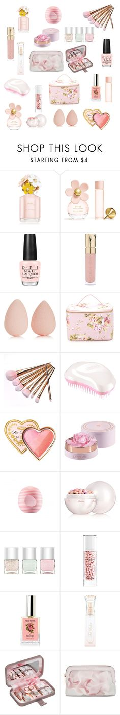"""Spring Beauty"" by xvintageglamourx ❤ liked on Polyvore featuring beauty, Marc Jacobs, OPI, Smith & Cult, beautyblender, Forever 21, Tangle Teezer, Too Faced Cosmetics, Eos and Guerlain"