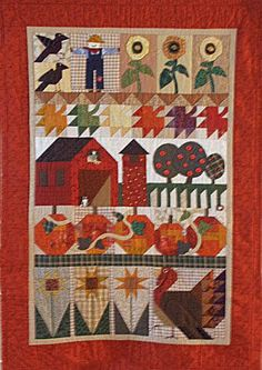 This kind of country quilts is certainly an inspiring and top notch idea Halloween Quilts, Halloween Sewing, Small Quilts, Mini Quilts, Farm Quilt, Fall Sewing, Primitive Quilts, Country Quilts, Sampler Quilts
