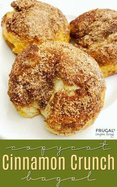 Easiest Cinnamon Crunch Bagel. Copycat Panera Bread Breakfast Recipe. #FrugalCouponLiving #panera #copycat #panerabread #bagelrecipes #cinnamonsugar #cinnamon #cinnamoncrunch #copycatrecipes #bagels #copycatrecipe
