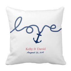 Nautical Tying the Knot Anchor Wedding Pillow