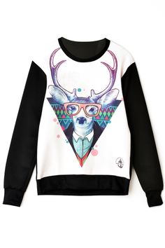 Deer with Glasses Pattern Sweatshirt
