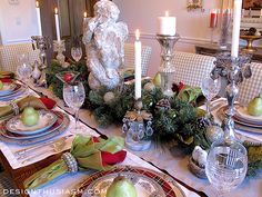 The one place I decorate to the hilt is in the dining room for myChristmas dinner table setting.