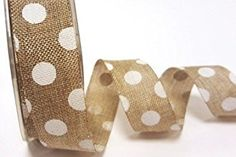 Bertie's Bows Natural Polka Dot Burlap 25mm Ribbon on a 2m length (N.B. this is a cut from a roll)