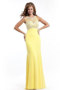 Escote A la Base Imperio Sin Mangas Satén Amarillo Diamante de imitación Cremallera Vestidos de graduacion -USD $145.99