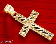 Real-10k-Gold-CROSS-Pendant-Charm-Piece-Diamond-Cut-Design Jesus On The Cross, Gold Cross, Personalized Necklace, Crucifix, Cross Pendant, Diamond Cuts, White Gold, Charmed, Necklaces