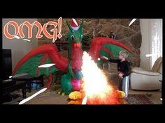 Inflatable Christmas Dragon Catching our House on Fire! Funny Cute Inflatables Video For Kids Christmas Dragon, Circus Maximus, Funny Cute, Fire, Make It Yourself, Videos, Youtube, House, Home