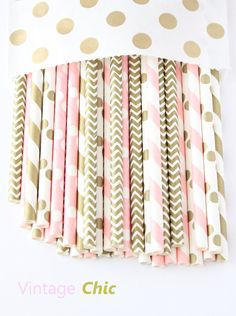 Light pink and gold paper straws-set of 25 by GlitterSaturday