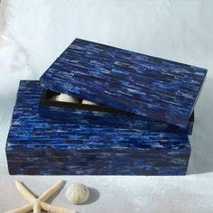 Carmel Decor - Lapis Blue Bone-Tiled Box Set from Tozai STR120-S2 - #carmeldecor #decor #boxes #tozaihome