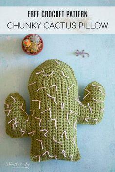 Crochet Cactus Pillows – Free Crochet Pattern – Whistle and Ivy - Crochet Cactus En Crochet, Crochet Cactus Free Pattern, Crochet Pillow Pattern, Modern Crochet Patterns, Crochet Diy, Crochet Cushions, All Free Crochet, Chunky Crochet, Crochet Home