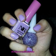 Lilac Nails using Niu Cuiran N.CR (with no name or number) and Mukka Glitter Polish #20
