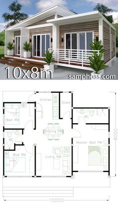 Home Design Plan 3 Bedrooms with Interior Design &; Architecture Designs H. - Home Design Plan 3 Bedrooms with Interior Design &; Architecture Designs Home Design Plan - Bungalow House Design, Tiny House Design, Modern House Design, House Plans Design, Modern Houses, Dream House Plans, Small House Plans, House Floor Plans, Architecture Design