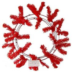 """Red Work Wreath - Create your own 24"""" wreath with deco poly mesh"""