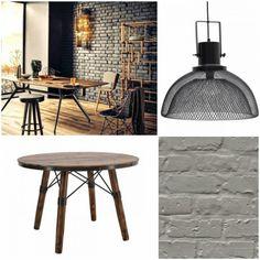 Για να μεταμορφώσετε τον χώρο σας σε μικρό εργοστάσιο αρκεί να επιλέξετε μία ταπετσαρία με όψη τοίχου από τούβλα, ένα τραπέζι από ξύλο και μέταλλο και ένα εντυπωσιακό φωτιστικό βιομηχανικής αισθητικής. Outdoor Furniture, Decor, Loft Decor, Table, Outdoor Tables, Outdoor Decor, Furniture, Home Decor
