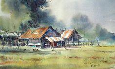 Morning on farm No.2 (watercolor, 26x43 cm) Direk Kingnok