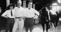 Front of the stables Royallieu, Gabrielle Chanel, Leon de Laborde and Etienne Balsan.  (Collection Chanel, Paris, France)
