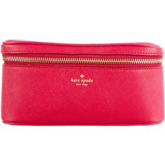 Pre-owned Kate Spade New York Saffiano Leather Cosmetic Case found on Polyvore featuring beauty products, beauty accessories, bags & cases, makeup bags, filler, red, travel bag, wash bag, travel kit and cosmetic bags