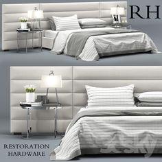 RH Modern custom horizontal channel fabric hedboard bed