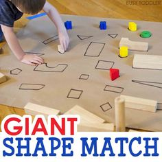 GIANT SHAPE MATCH: Check out this awesome indoor math activity for toddlers and preschoolers; an awesome rainy day activity; quick and easy to set up; Math Activities For Toddlers, Shapes For Toddlers, Cognitive Activities, Preschool Centers, Rainy Day Activities, Preschool Lessons, Language Activities, Preschool Ideas, Shapes For Preschool