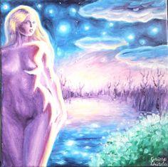 Pictura in ulei pe panza inspirata din poezia Din cerurile-albastre de Mihai Eminescu