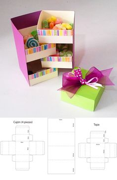 Purple and green candy box Get the template, … - DIY Gifts Wedding Ideen Diy Gift Box, Diy Box, Paper Gift Box, Diy Crafts For Gifts, Crafts For Kids, Diy Paper, Paper Crafts, Papier Diy, Green Candy
