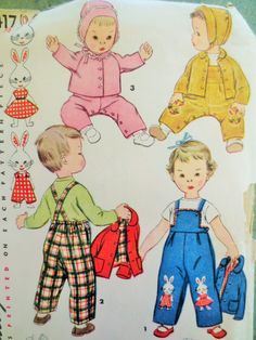 Vintage Simplicity 4417 Sewing Pattern, 1950s Baby Overalls Toddler Overalls Rabbit Applique, Baby Bonnet Baby Jacket, Vintage Sewing Supply by sewbettyanddot on Etsy