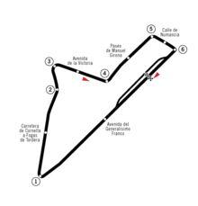 Grand Prix d'Espagne 1951-Tracé de la course Le Grand Prix automobile d'Espagne 1951 (XI° Gran Premio de España), disputé le 28 octobre 1951 sur le circuit Pedralbes, est la quinzième épreuve du championnat du monde de Formule 1 courue depuis 1950 et la huitième et dernière manche du championnat 1951.