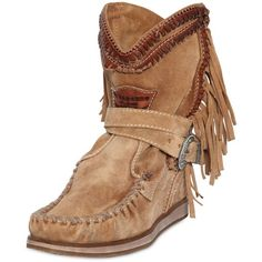 El Vaquero Women 70mm Suede Wedge Ankle Boots ($460) ❤ liked on Polyvore featuring shoes, boots, ankle booties, suede fringe booties, wedge ankle boots, fringe bootie, fringe boots and cowgirl boots