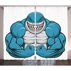 Fish Curtains 2 Panels Set, A Smiling Toothy White Shark with Big Muscles on Arms Illustration Print, Window Drapes for Living Room Bedroom, 108W X 63L Inches, Pale Grey Petrol Blue, by Ambesonne #bigmuscletraining